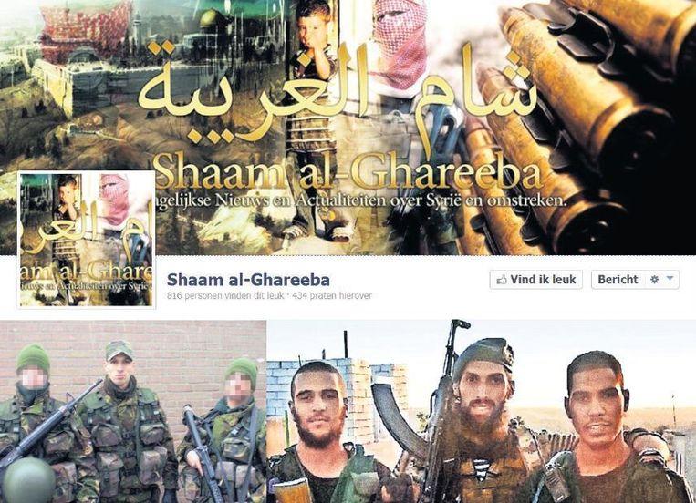 Op de Nederlandstalige Facebookpagina Shaam al-Ghareeba staan de 'heldendaden' van de djihadisten. In het midden de Nederlandse ex-militair Yilmaz. Beeld