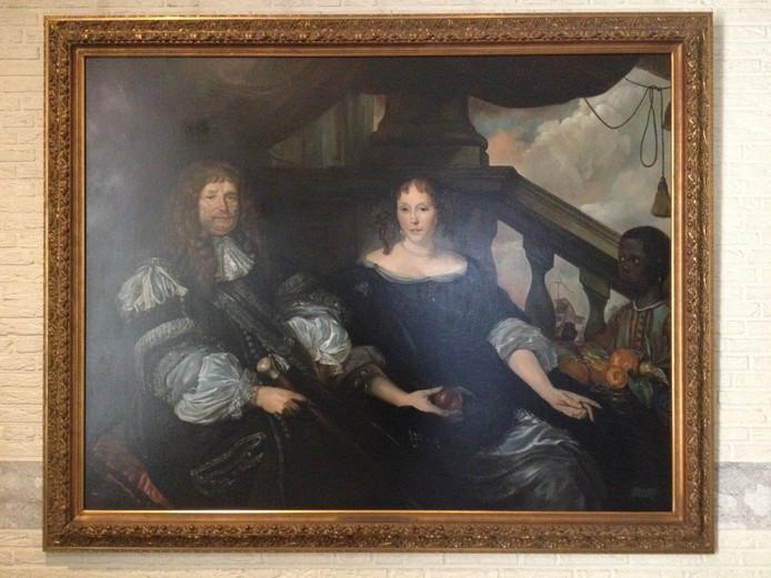 Dit portret van Jan van Amstel en zijn tweede vrouw Anna Boxhoorn is een kopie van een bestaand schilderij van Abraham van den Tempel. De toen 20-jarige Twan van de Vorstenbosch uit Schijndel schilderde in 1983 deze kopie in opdracht van Gerard Scholten.