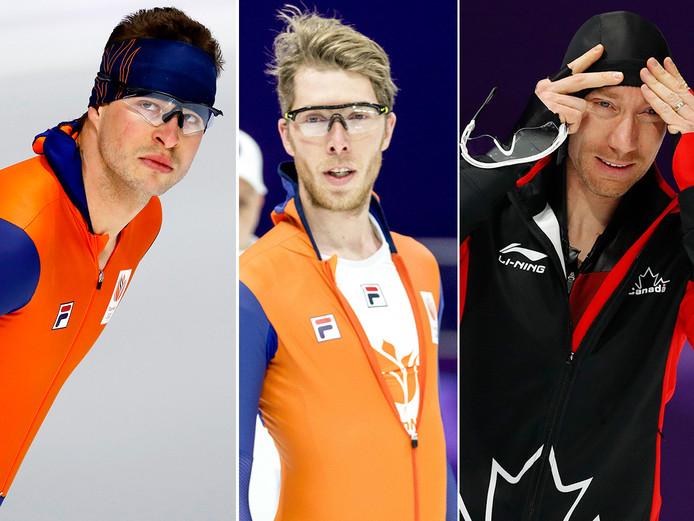 Vlnr: Sven Kramer, Jorrit Bergsma en Ted-Jan Bloemen.