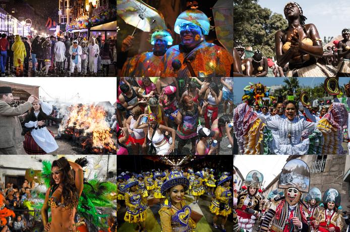 Dit weekeinde wordt overal in de wereld carnaval gevierd. Op de foto vanaf linksboven met de klok mee: Eindhoven, Duitsland, Guinee-Bissau, Colombia, Spanje, Bolivia, Uruguay en Roemenië. In het midden: Panama.