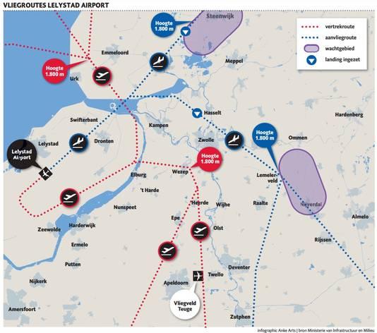 De vliegroutes van Lelystad Airport zoals die nu voorliggen, waartegen vanmiddag 60.000 handtekeningen worden aangeboden.