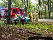 Auto belandt op dak in De Rips nadat hij tegen boom knalt, bestuurder gewond naar het ziekenhuis