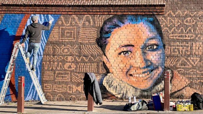 Fresque en hommage à Nadège Abbate.