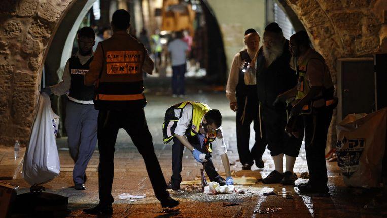 Israëlische politie op de plaats delict. Beeld epa
