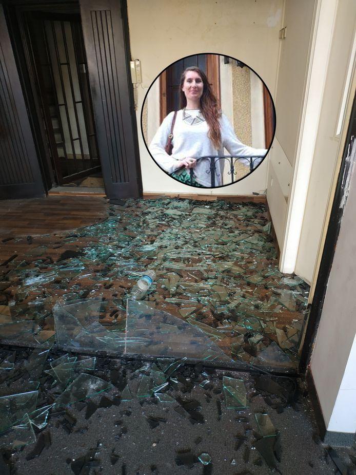 Inzet: Tara Kenkhuis in Beiroet en de schade aan haar woning.