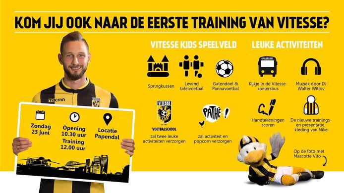 De activiteiten rond de eerste training van Vitesse.