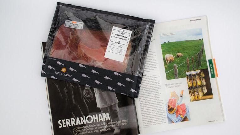 Albert Heijn suggereert volgens Wakker Dier ten onrechte dat varkens waarvan serranoham wordt gemaakt, in de wei lopen. Beeld Wakker Dier
