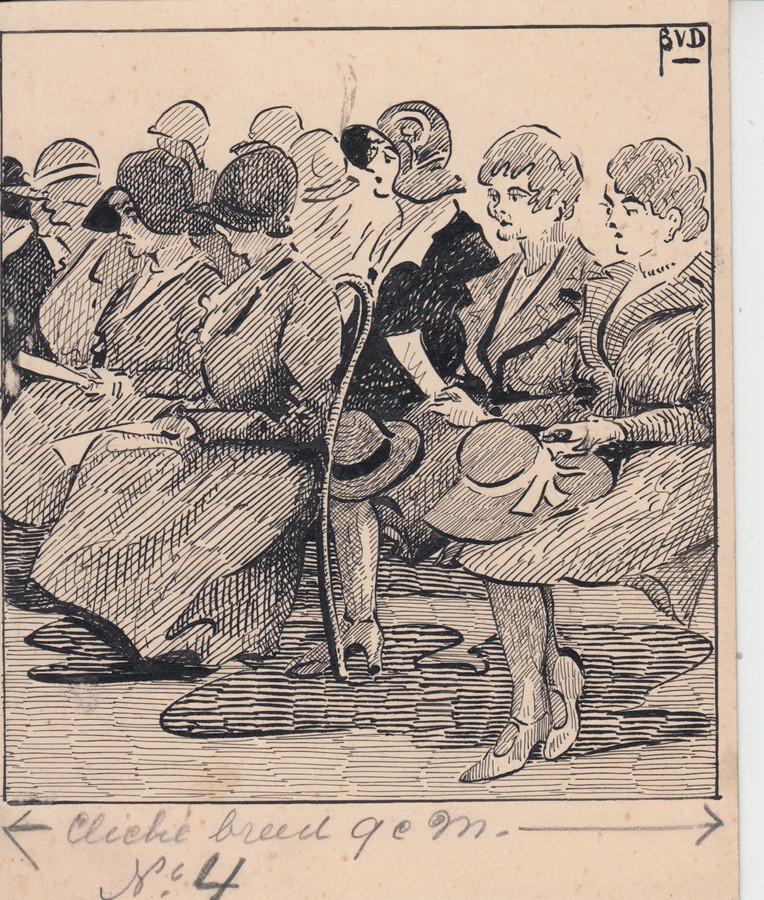Vrouwen in de kerk, met hoedjes van C&A, getekend door Bernard van Dam