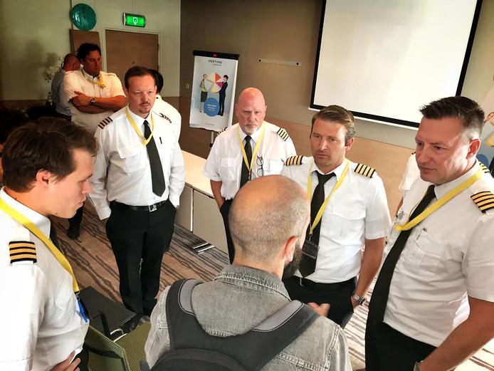 Piloten van Ryanair in Eindhoven vorig jaar tijdens een staking.