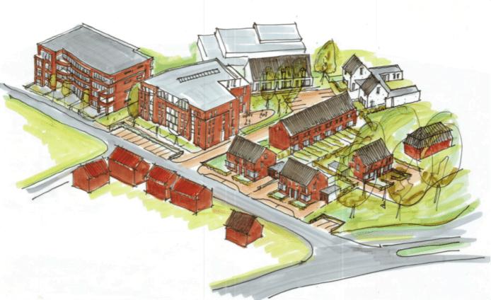 Het ontwerp van Buren van de Huif voor de lege plaats die het ontmoetingscentrum achter liet.