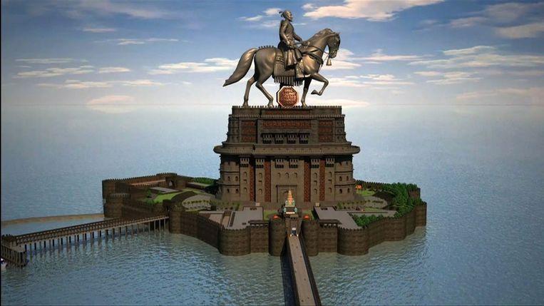 Het bronzen beeld van Shivaji te paard wordt met 190 meter het hoogste ter wereld, twee keer zo hoog als het Amerikaanse Vrijheidsbeeld en 40 meter hoger dan een Chinees boeddhabeeld, dat nu nog het hoogste is Beeld RV