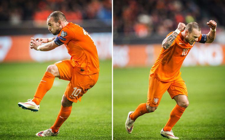 Wesley Sneijder in de veronderstelling dat hij heeft gescoord. Beeld null