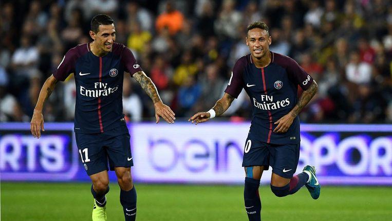 Angel Di Maria en Neymar in de wedstrijd tegen Saint-Etienne. Beeld afp