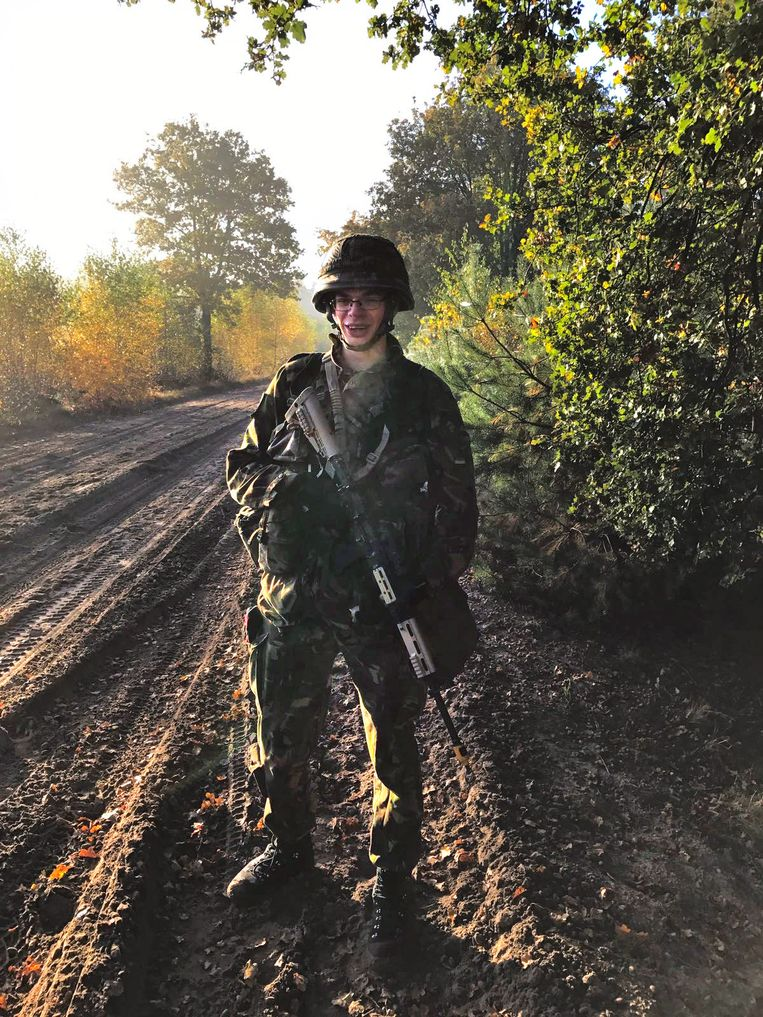 Reservist Sijmen Mulder in uniform.  Beeld Privebeeld