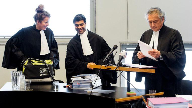 Advocaten Christa Wijnakker, Veeru Mewa en John Beer. Beeld anp