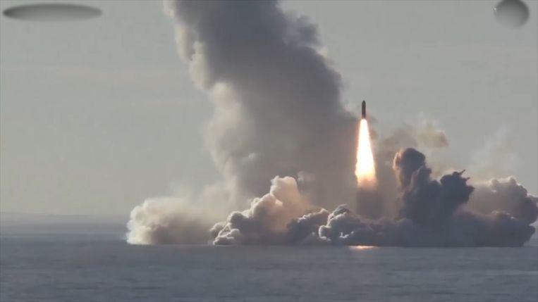 De Russische marine test vaker ballistische raketten op de Witte Zee. Beeld Videostill