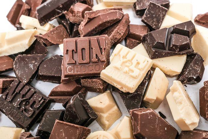 Stukken chocolade van Tony's Chocolonely.
