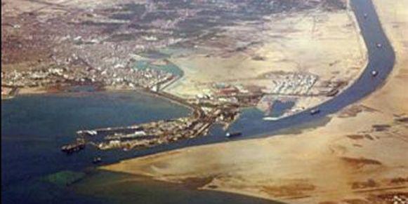 De zuidelijke ingang tot het Suezkanaal in Egypte.