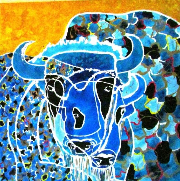 Een van de werken in 'Zicht op nieuws' is een schilderij van een wisent.