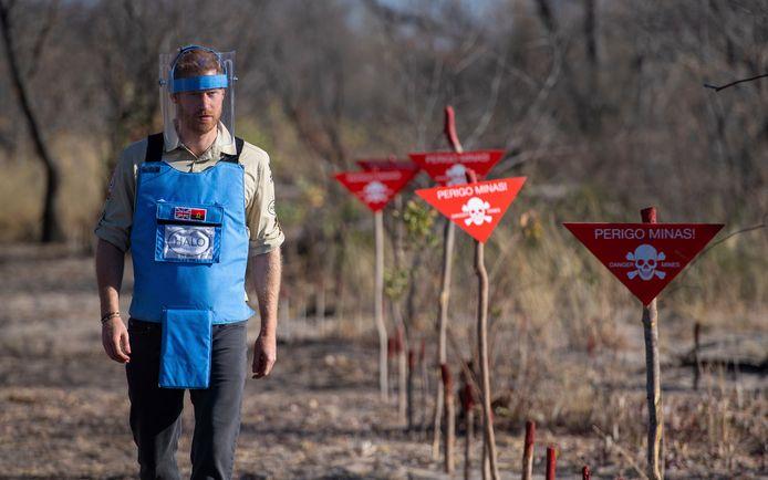 Prins Harry loopt door een mijnenveld in Dirico, Angola