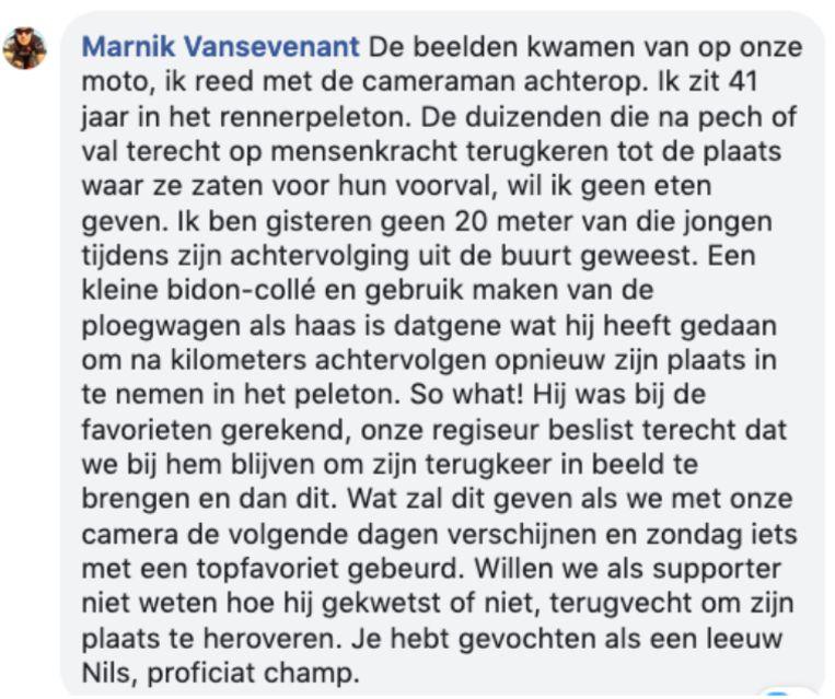 Het bericht van Marnik Vansevenant.