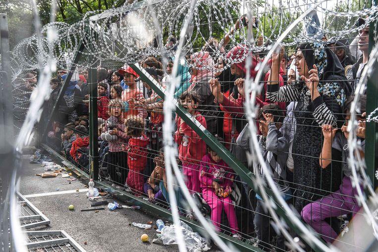 In 2015 stuitten vluchtelingen op een hek langs de Hongaarse grens. Beeld AFP