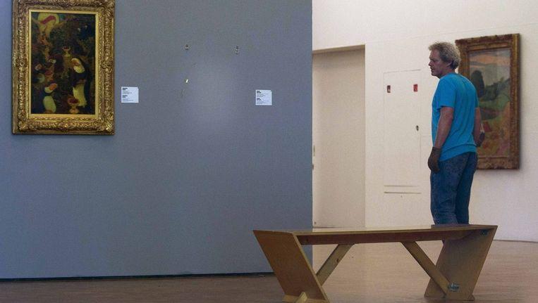 Een lege plek in de Kunsthal waar eerder het gestolen schilderij van Henri Matisse hing. Beeld ap