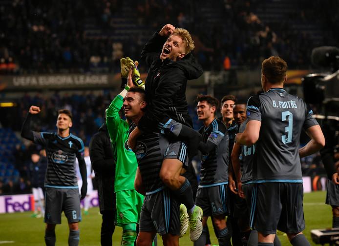 Vreugde bij de spelers van Celta de Vigo.