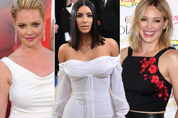 Katherine Heighl, Kim Kardashian en Hilary Duff.