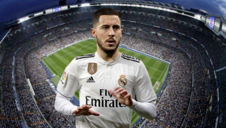 Eden Hazard in een shirt van Real met Bernabéu op de achtergrond, waar onze Rode Duivel donderdag wordt voorgesteld.