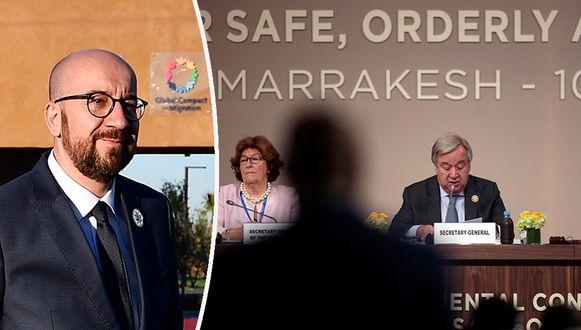 Archiefbeeld. Het VN-migratiepact werd goedgekeurd in Marrakesh, en ondertekend door Belgisch premier Charles Michel (MR)