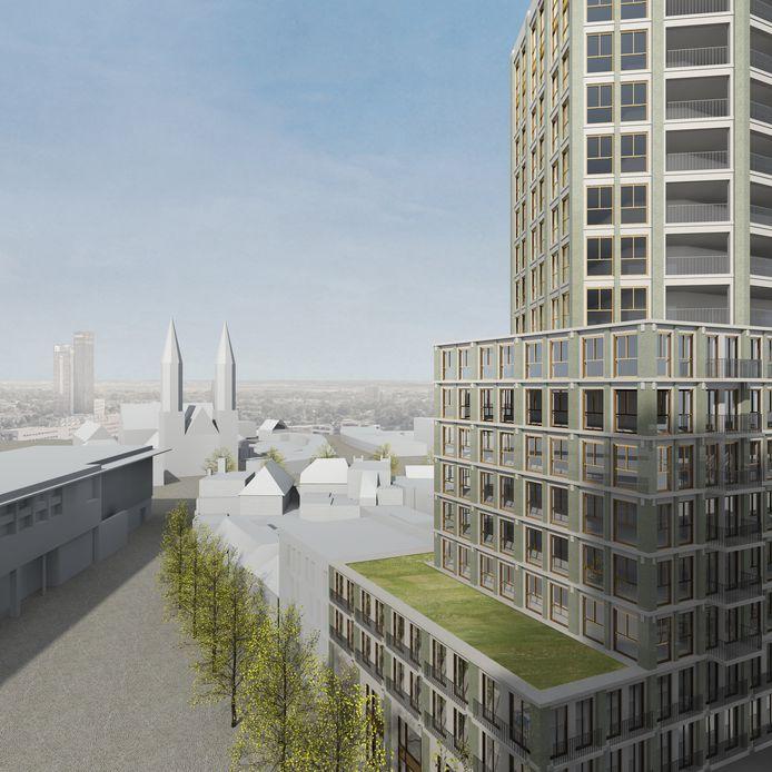 Impressie van de volumestudie voor de woontoren aan het Pieter Vreedeplein, gezien vanuit de bestaande woontoren.