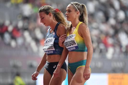 Ophélie Claude-Boxberger (links) na een wedstrijd in september dit jaar.
