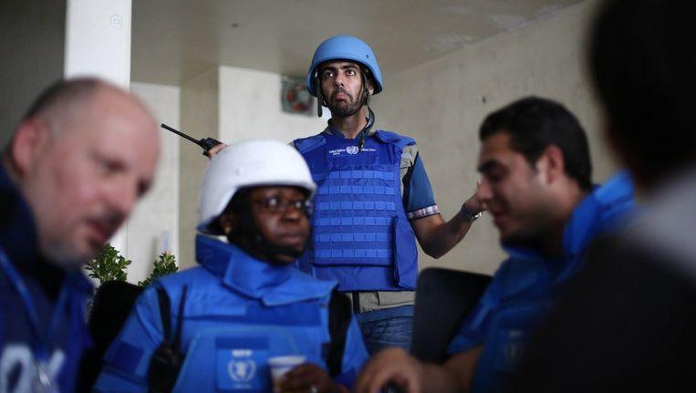 VN-medewerkers in Syrië.