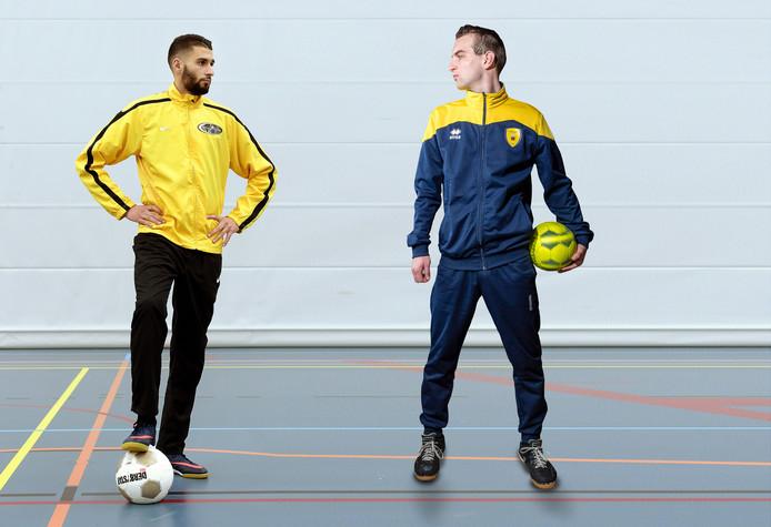 Anass el Gamali (Bristol Team/Osaka, links) en Jacco de Gast (Prinsland) spelen maandag de West-Brabantse zaalvoetbalderby.