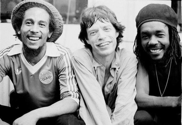 Bob Marley, Mick Jagger en Peter Tosh, New York, 1978 Beeld Michael Putland