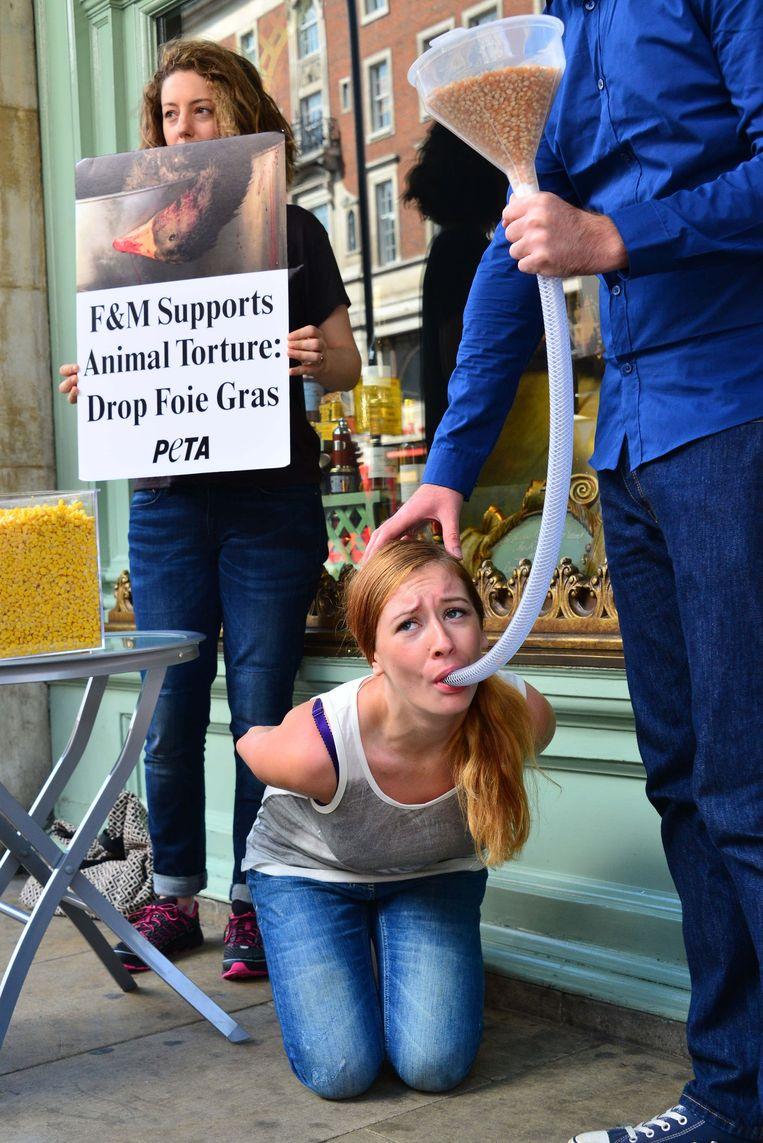 Een activist van PETA protesteert in Londen tegen het gedwongen voederen van eenden en ganzen voor de productie van foie gras.