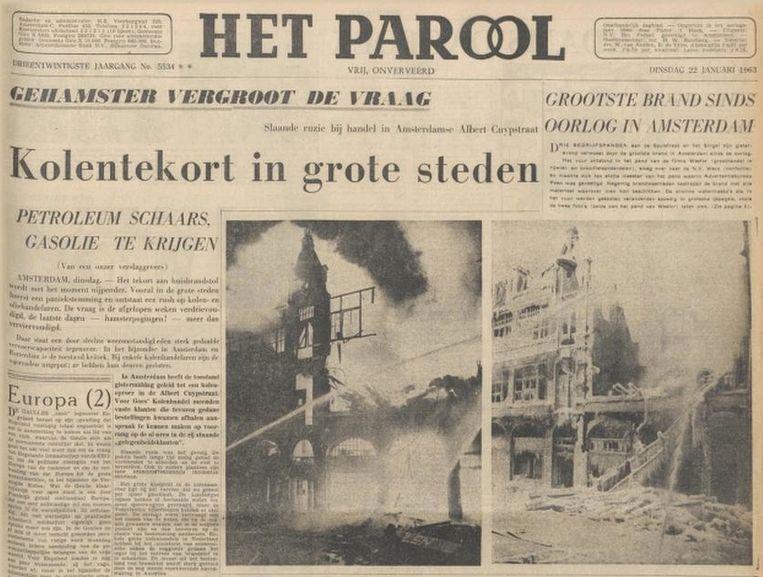 De voorpagina van Het Parool van 22 januari 1963. Beeld Het Parool