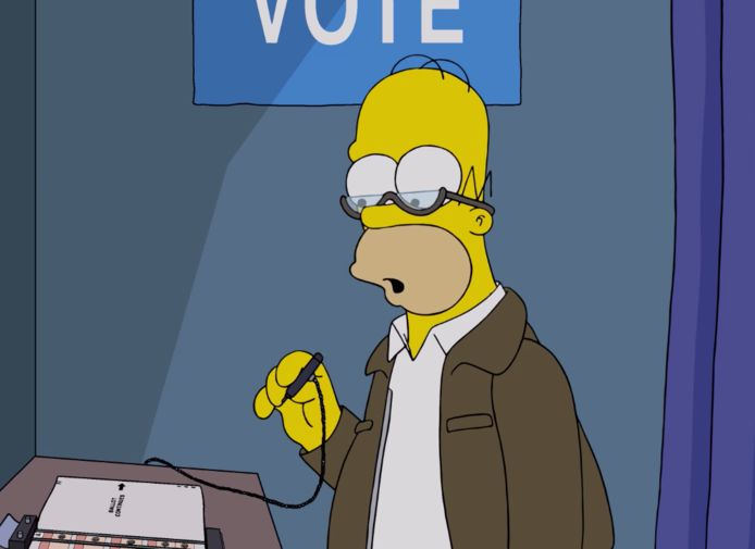 The Simpsons mengen zich in verkiezingen.