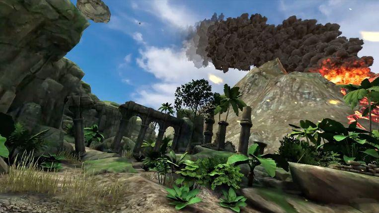 Een beeld van wat de bezoekers te zien krijgen, een keer ze de bril hebben opgezet en in de virtuele wereld reizen.