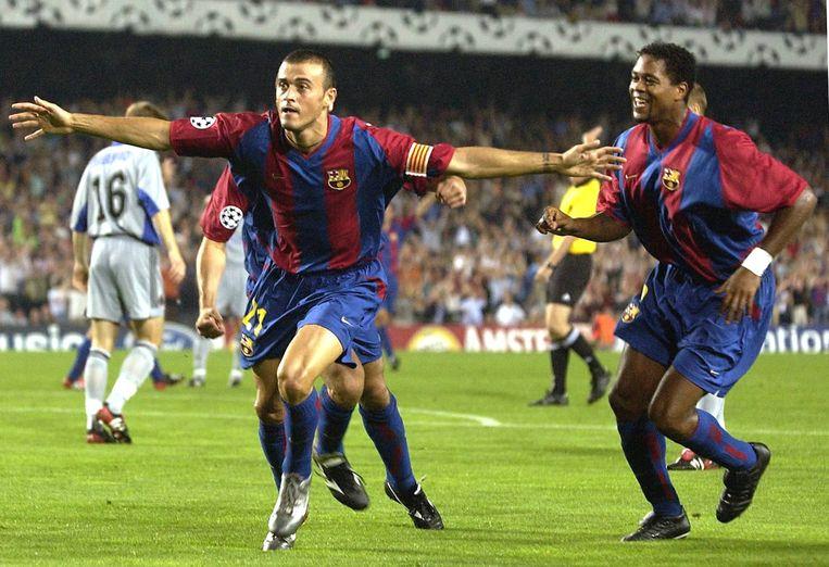 Luis Enrique en Kluivert hier in actie tegen Club Brugge in 2002.
