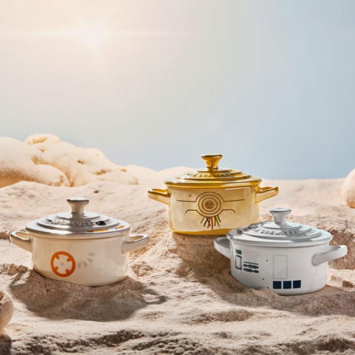 De drie minidroids C-3P0, R2-D2 en BB-8 kan je kopen voor 80 euro.