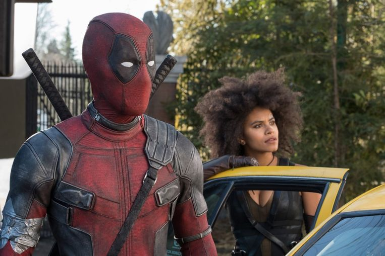 Ryan Reynolds en Zazie Beetz in Deadpool 2 (David Leitch, 2018). Beeld