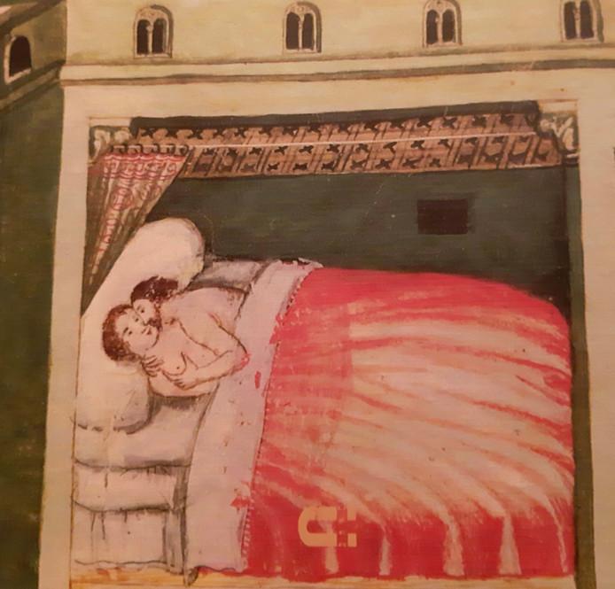 'Het huwelijksbed', uit de Theatrum Sanitatis, circa 1400, uit boek 'De kerk waakt in de slaapkamer' van Cas van Houtert.