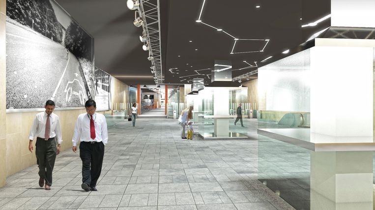 metrostation Beurs krijgt tentoonstellingsruimte: 3D beeld van de ruimte voor fietsen en tentoonstellingen