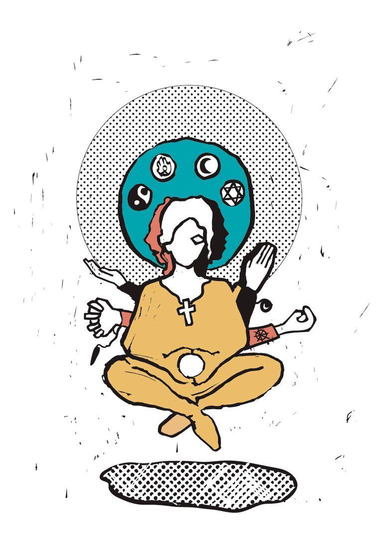 Kieswijzer voor levensbeschouwing. illustratie Fadi Nadrous Beeld Trouw
