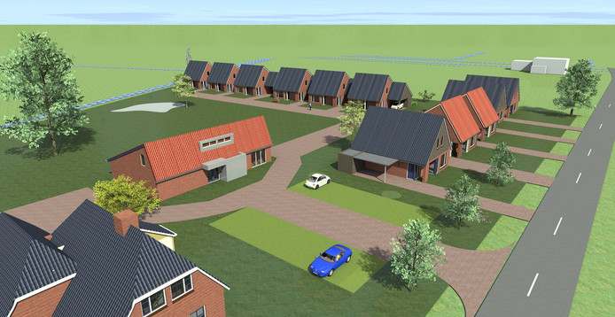 Artistimpression van het bouwplan voor elf zorgwoningen en een vrijstaande woning aan de Beerzerhaar, tegenover basisschool De Schakel.