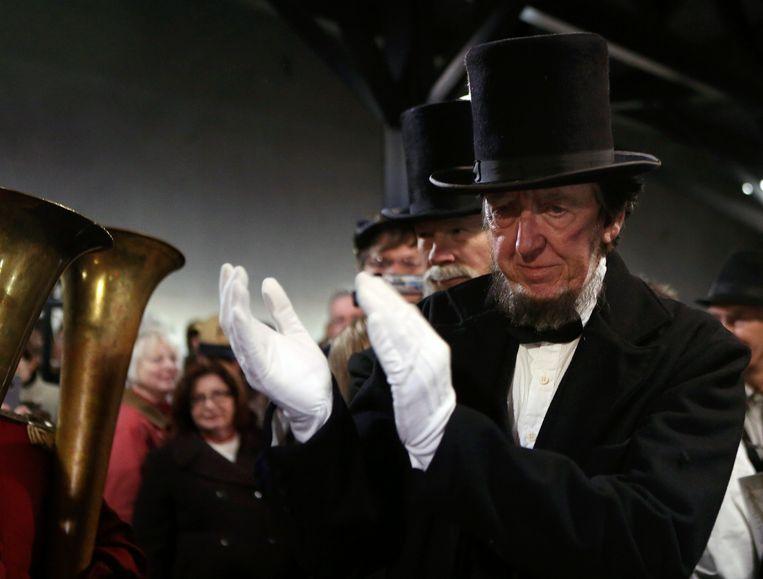 Een deelnemer speelt Abraham Lincoln tijdens een historische reconstructie van een slag uit de Amerikaanse Burgeroorlog. Foto uit 2013.