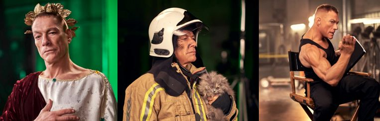 Kruipt Van Damme bijvoorbeeld in de rol van een Romeinse keizer of speelt hij een brandweerman die een kat redt?