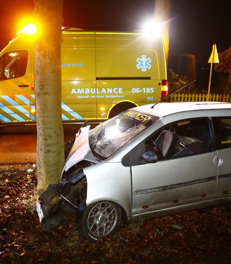 45 km-auto botst tegen boom in Oldebroek: bestuurster gewond naar ziekenhuis
